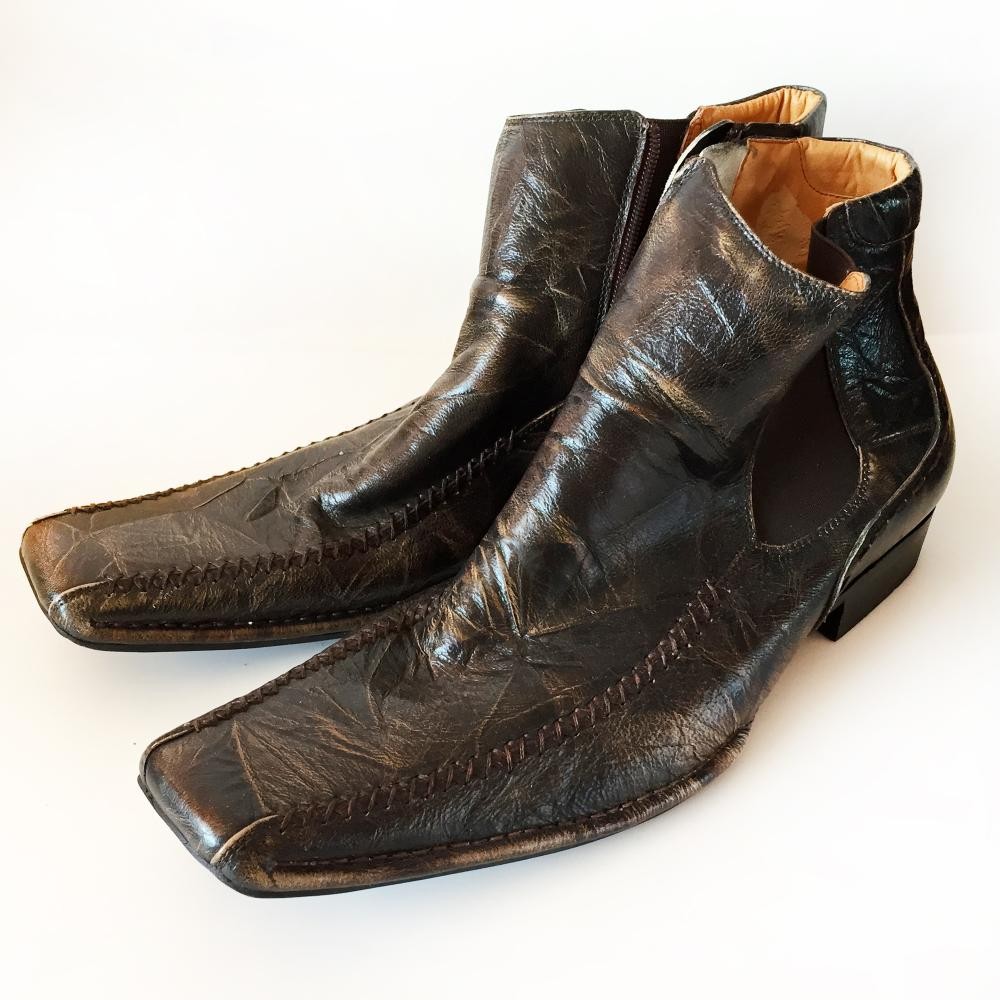 STEVE MADDEN: Men's genuine brown leather boots, size 12 M