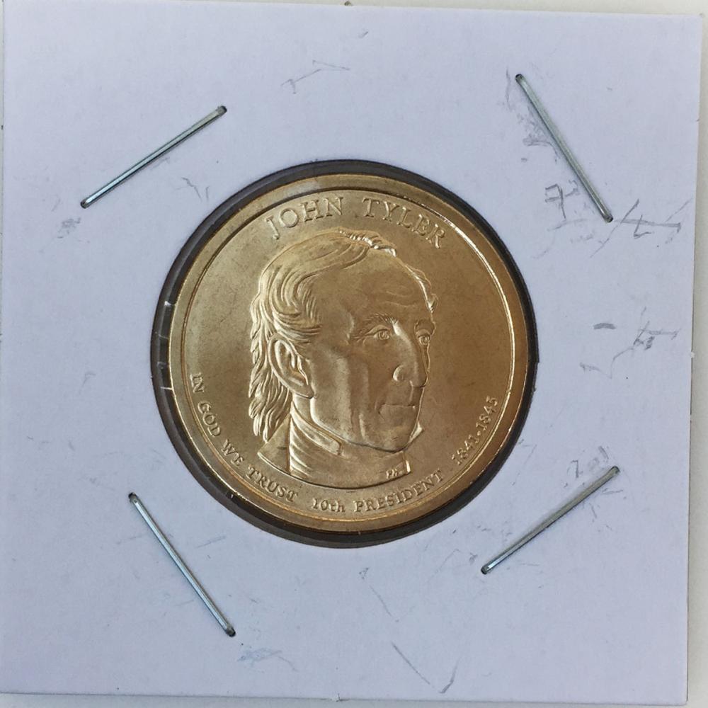 Mint US President John Tyler, Statue of Liberty on reverse $1 Dollar gold tone coin