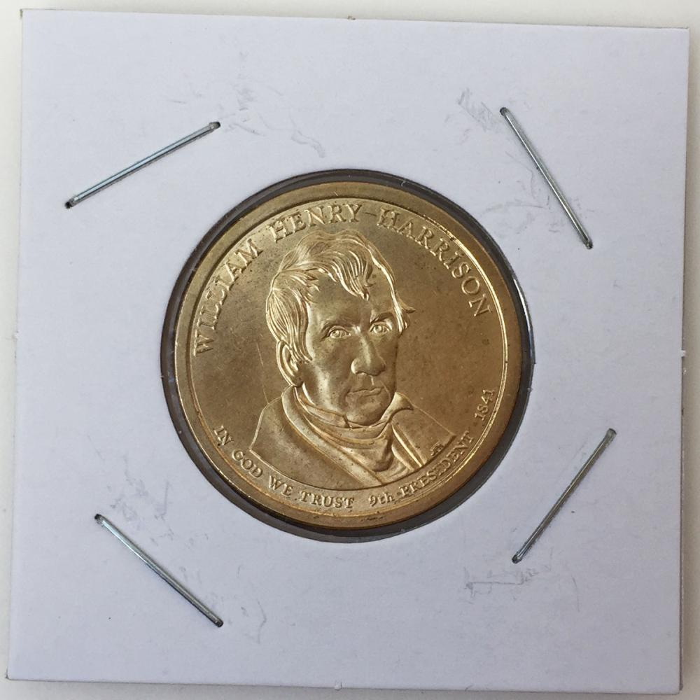 Mint US President William Henry Harrison, Statue of Liberty on reverse $1 Dollar gold tone coin