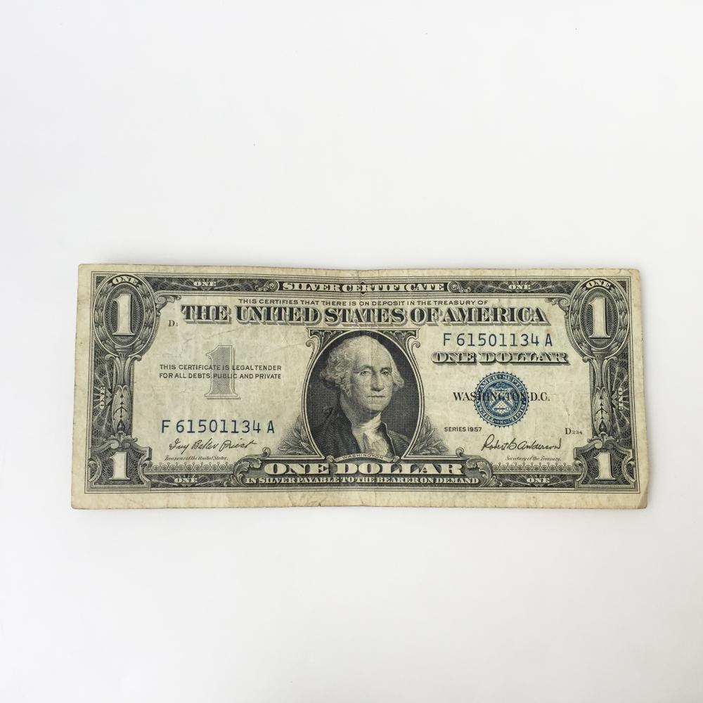 Collectible Faulty Alignment /Miscut Error US $1 one dollars silver certificate bill blue seal 1957 series