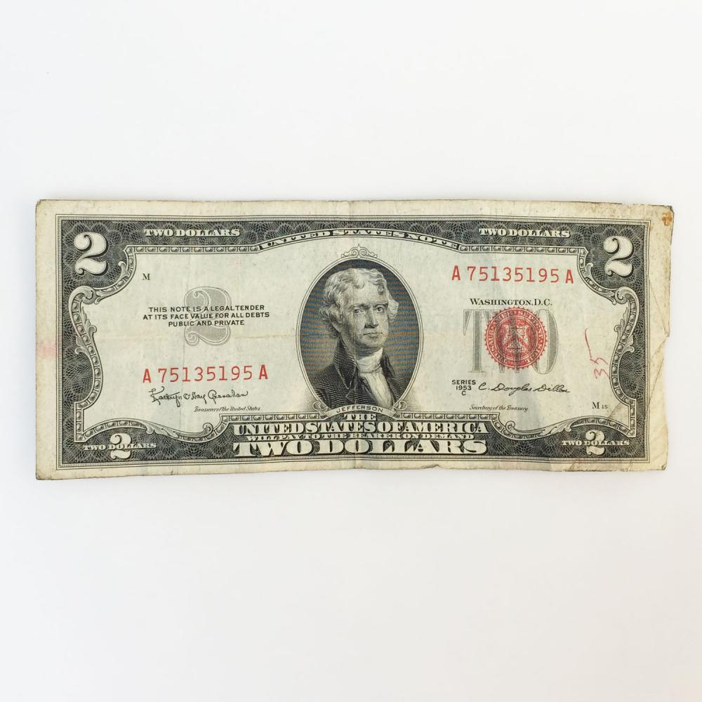 Collectible Faulty Alignment /Miscut Error US $2 two dollars bill note red seal 1953 C series