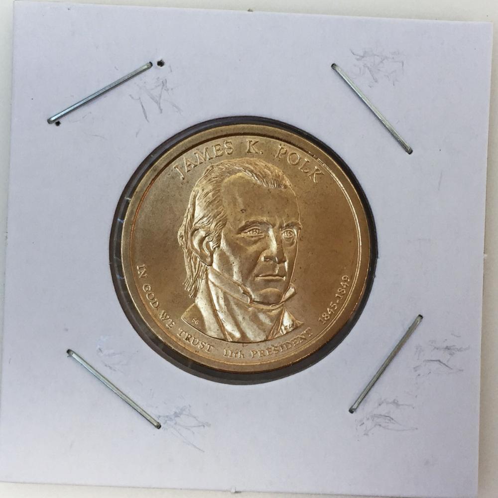 Mint US President James K. Polk, Statue of Liberty on reverse $1 Dollar gold tone coin