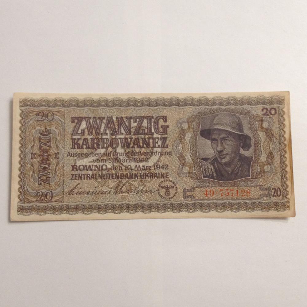 1942 20 Karbowanez Zwanzig Rowno German Occupation Soviet Ukraine Banknote #49.757128