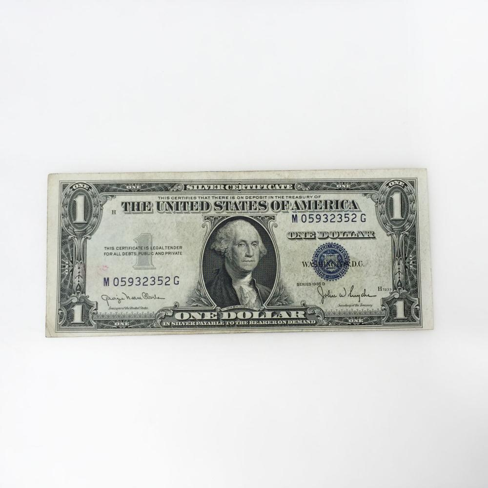 Collectible MISCUT ERROR US $1 one dollars silver certificate blue seal 1935 D series