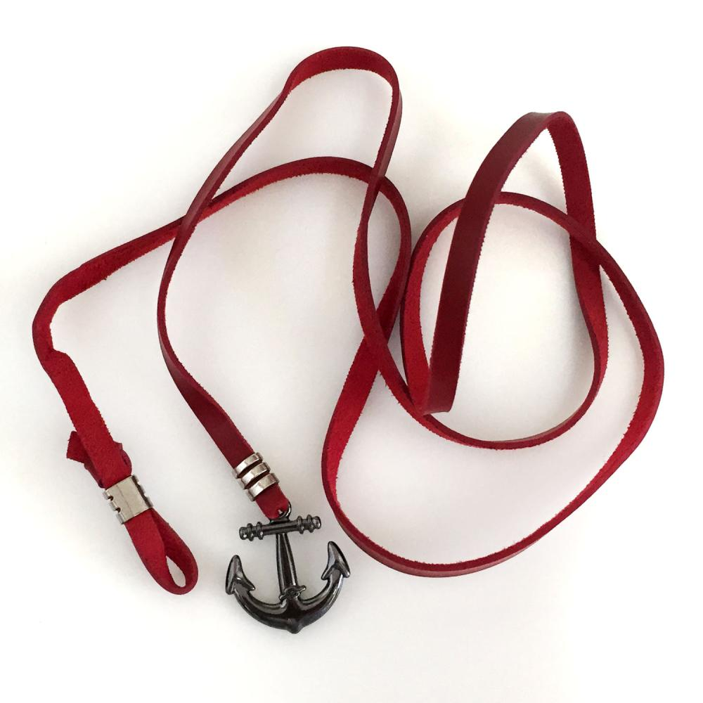 Black tone anchor red leather cord chocker lariat necklace