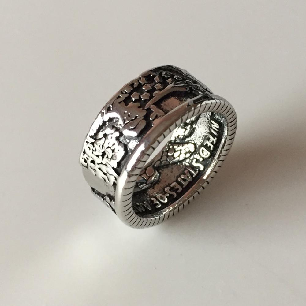 Silver plated oxidized Coin ring band size 12