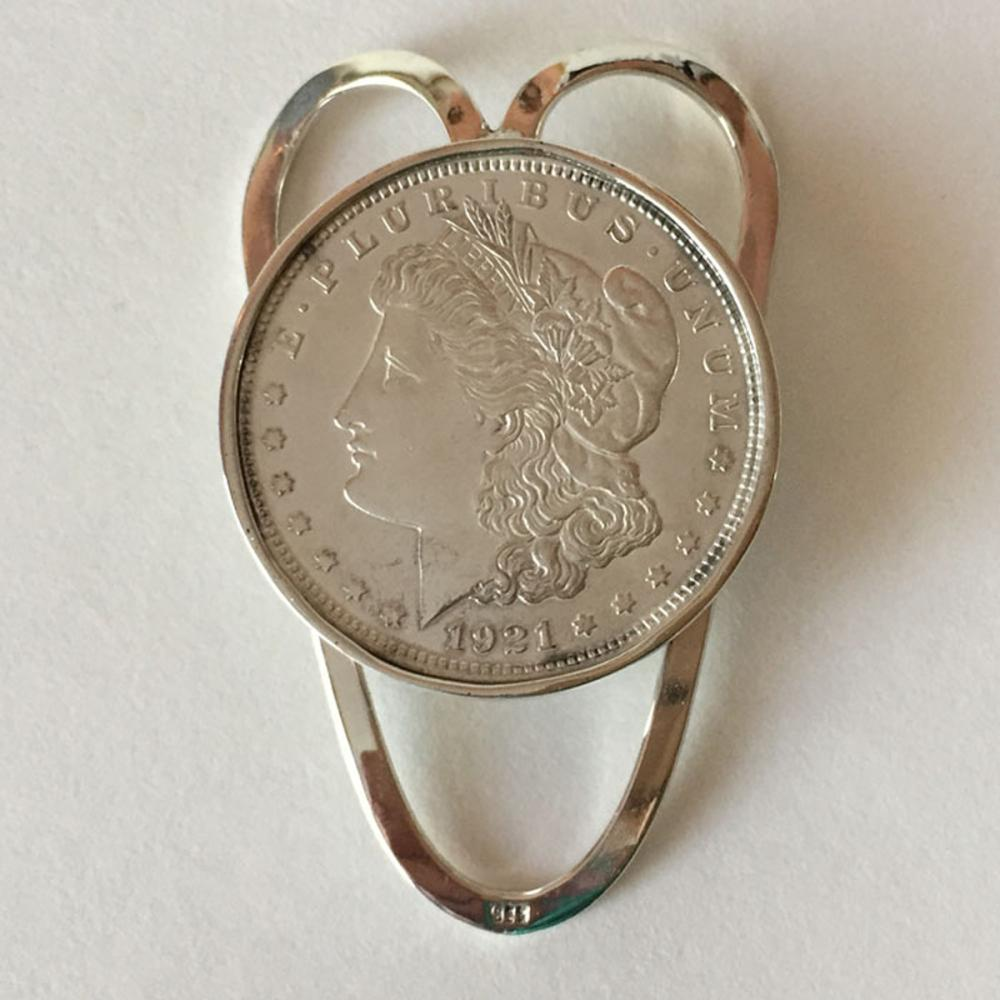 Hand made sterling silver money clip with genuine bezel set 1921 1$ MORGAN coin