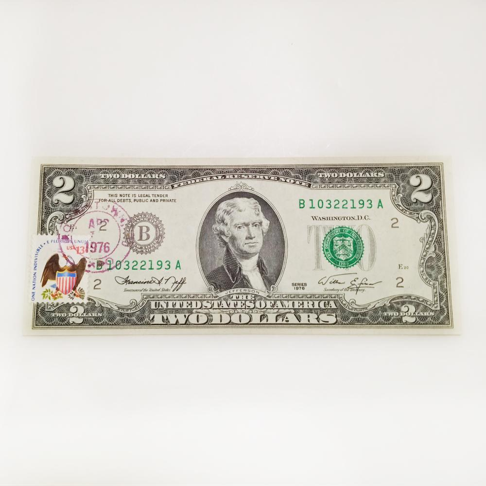 Collectible 1976 1st Day Issue United States Two dollars Federal Reserve Note bill with Postal Stamp, miscut error