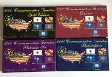 2000 Commemorative Quarters 4 sets (5 coins in each)