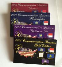 2001 Commemorative Quarters 4 sets (5 coins in each): Denver, Philadelphia, Platinum Set and Gold Edition