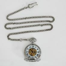 Two tone SKELETON round pocket watch with open top and bottom and Cuban link chain