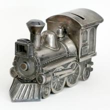 Silver plated TRAIN shaped money box