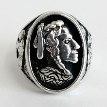 Sterling silver blackened ring with Indian head from front in oval part and Buffalo from sides, size 11