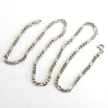 Sterling silver rhodium plated diamond cut 3.5 mm Figaro chain with spring ring clasp