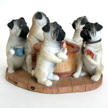 PUGS PLAYING CARDS figurine statuette, signed from bottom