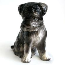Porcelain DOG TERRIER figurine statuette, signed from bottom E4370, INARCO, Japan