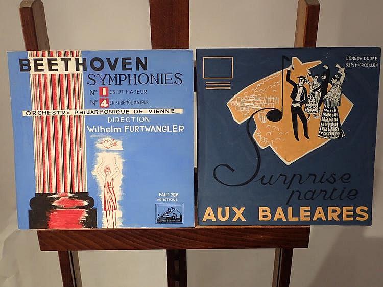 Yves COULAUX (1923-1989) . reproduction de quatre pochettes de disque