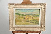 """Joseph LE TESSIER (1867-1949). """"Les meules"""" huile sur panneau. (28,5x42,5cm)"""