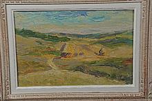 "Joseph LE TESSIER (1867-1949). ""Les meules"" huile"