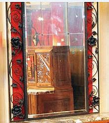 Furniture grand miroir en fer forg d cor de roses trav for Decoration fer forge mural
