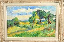 """FURNITURE - JOSEPH LE TESSIER (1847-1949). """"Paysage à Noroy sur Ourcq"""" huile sur toile"""