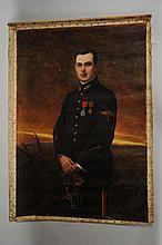 """FURNITURE - Jules Alfred Hervé MATHE ( 1868-1953) """" Portrait de militaire"""" huile sur to"""