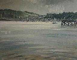 GARETH PARRY oil study - town of Conwy with Castle