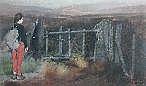 KEITH BOWEN pastel - study of a rambler at a