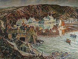 MOSS WILLIAMS watercolour - Porthdinllaen with