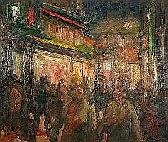 GARETH PARRY oil on canvas - Saturday night
