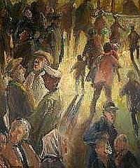 GARETH PARRY oil on board - numerous figures