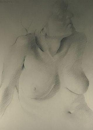 EDWARD POVEY graphite on paper - nude woman,