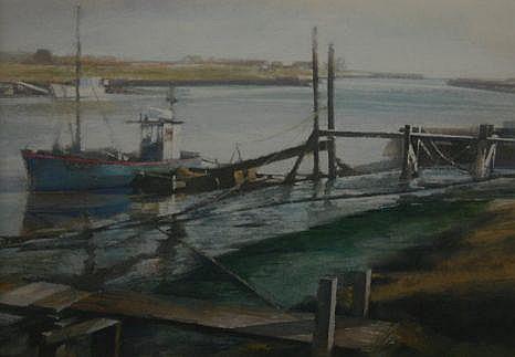 KEITH BOWEN mixed media - estuary scene with