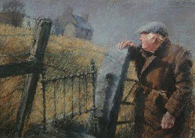 KEITH BOWEN pastel - farmer by a gate, signed,