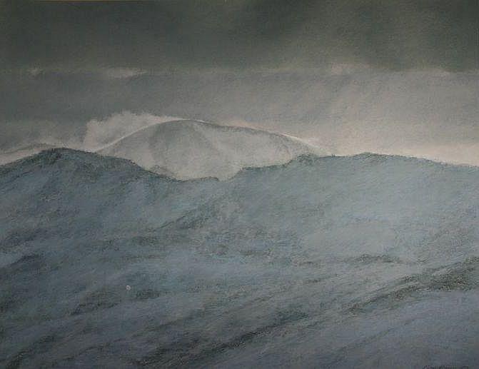 KEITH BOWEN mixed media - Snowdonia mountain ridge