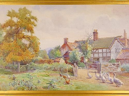 ARTHUR NETHERWOOD watercolour - farmstead with