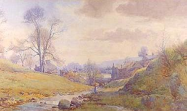 ARTHUR NETHERWOOD watercolour - river scene with