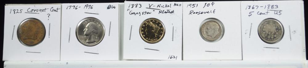 Lot 601: 5 Different Coins Mixed Lot 1883 Plated Gold