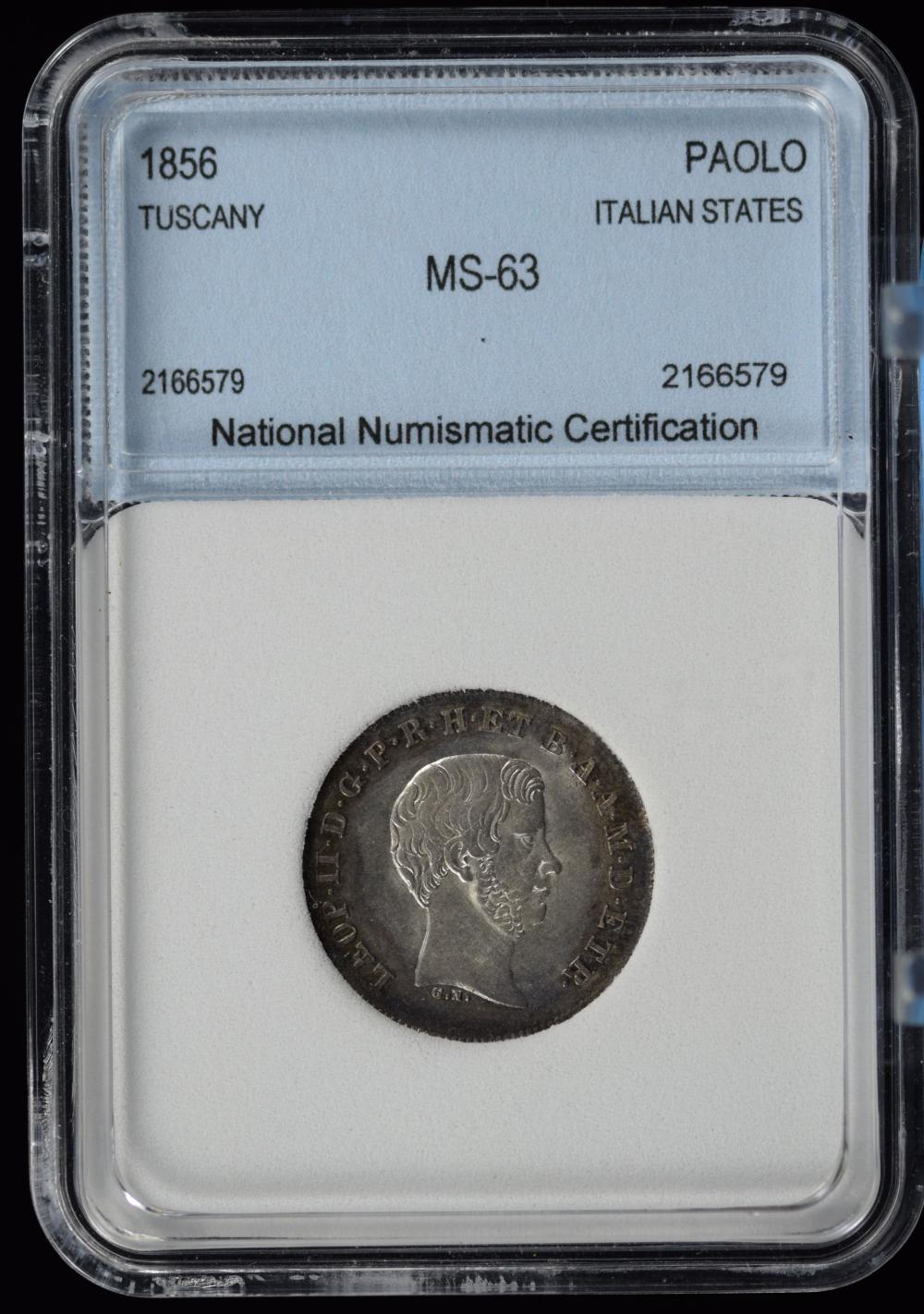 1856 Tuscany Italian Stated Silver Paolo NNC 63 Nice Tone Very Scarce