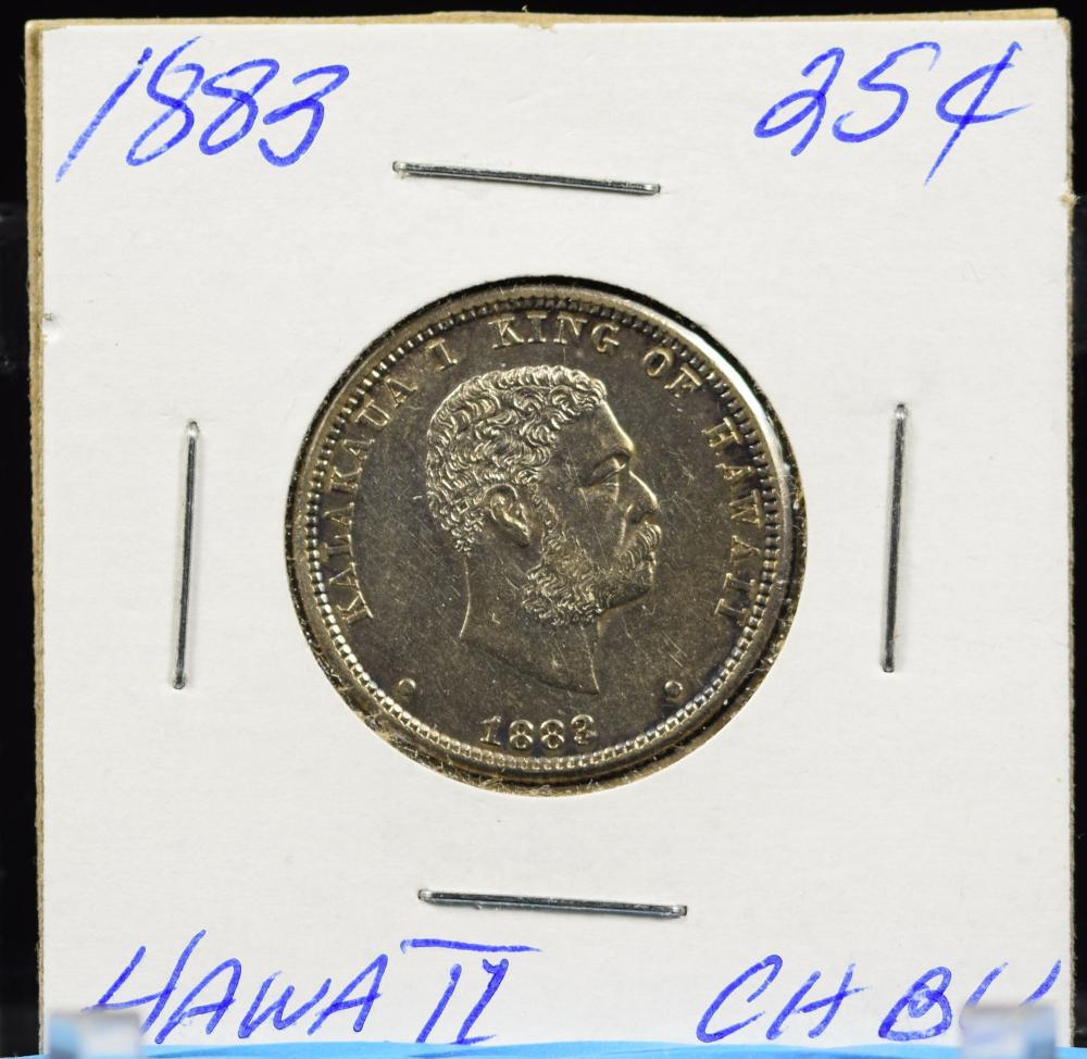 1883 Hawaii Quarter Lite Toned Better Date Very Attractive PQ CH/BU