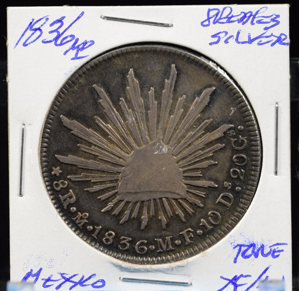 1836 Mo Silver 8Reales Toned Very Scarce Early Date Usual Turn Press Strike
