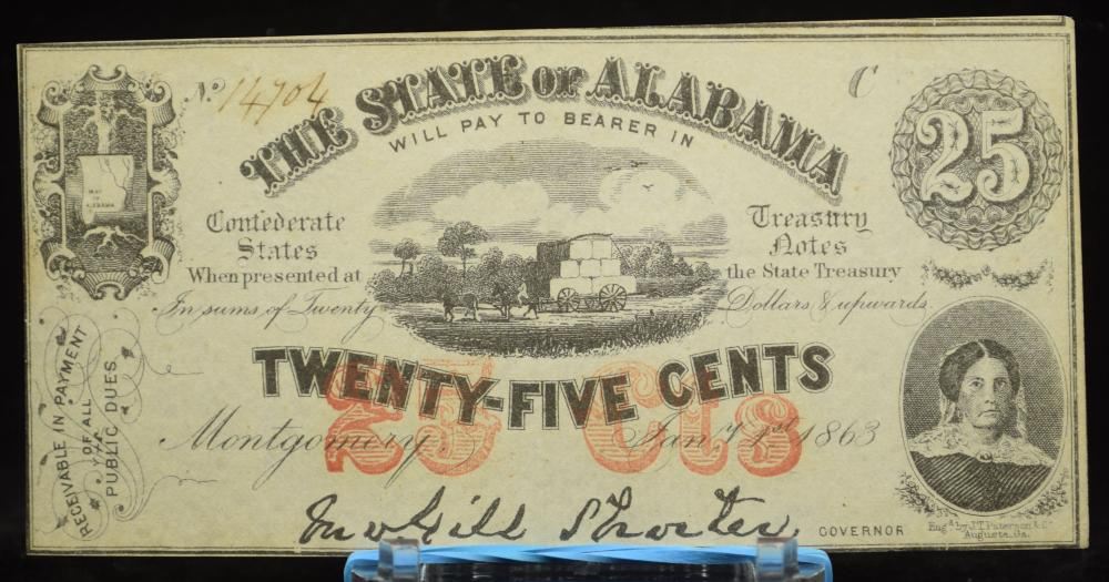 1863 25 Cent Alabama State 14704 CW War Usage Fully Issued CH/CU