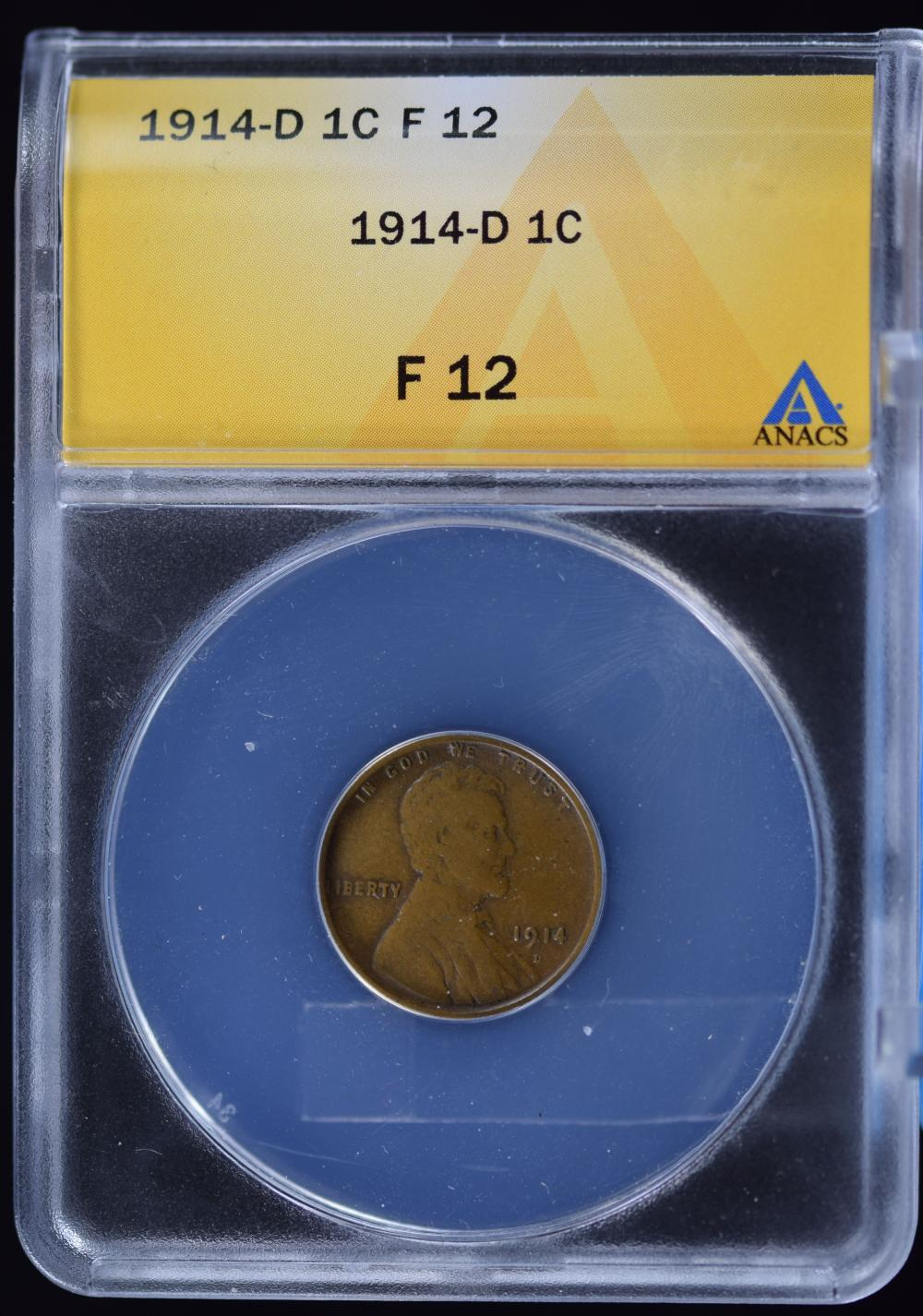 1914-D Lincoln Cent ANACS F-12