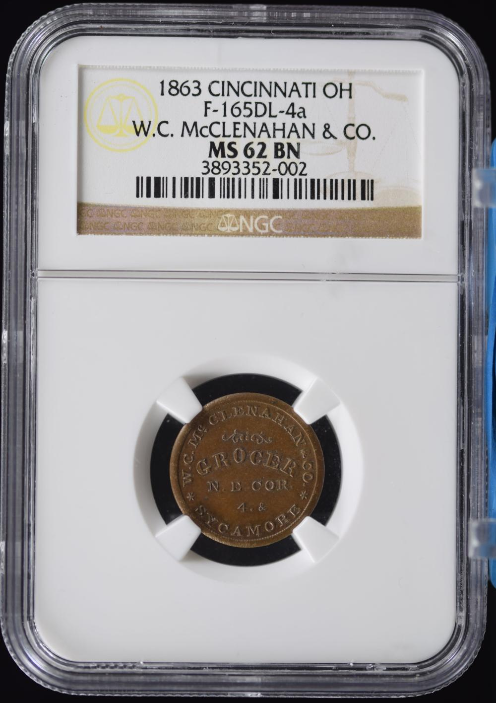 1863 CWT Cin.OH WC McClenahan Co. NGC MS-62 BN