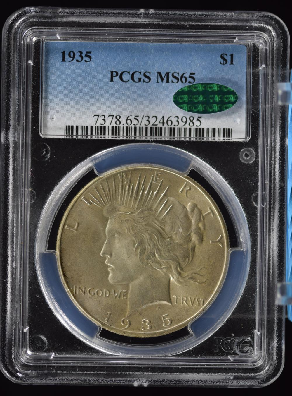 1935 Peace Dollar PCGS MS-65 CAC Very Light Toning