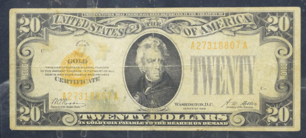 1928 $20 Gold Certificate Small Size VF