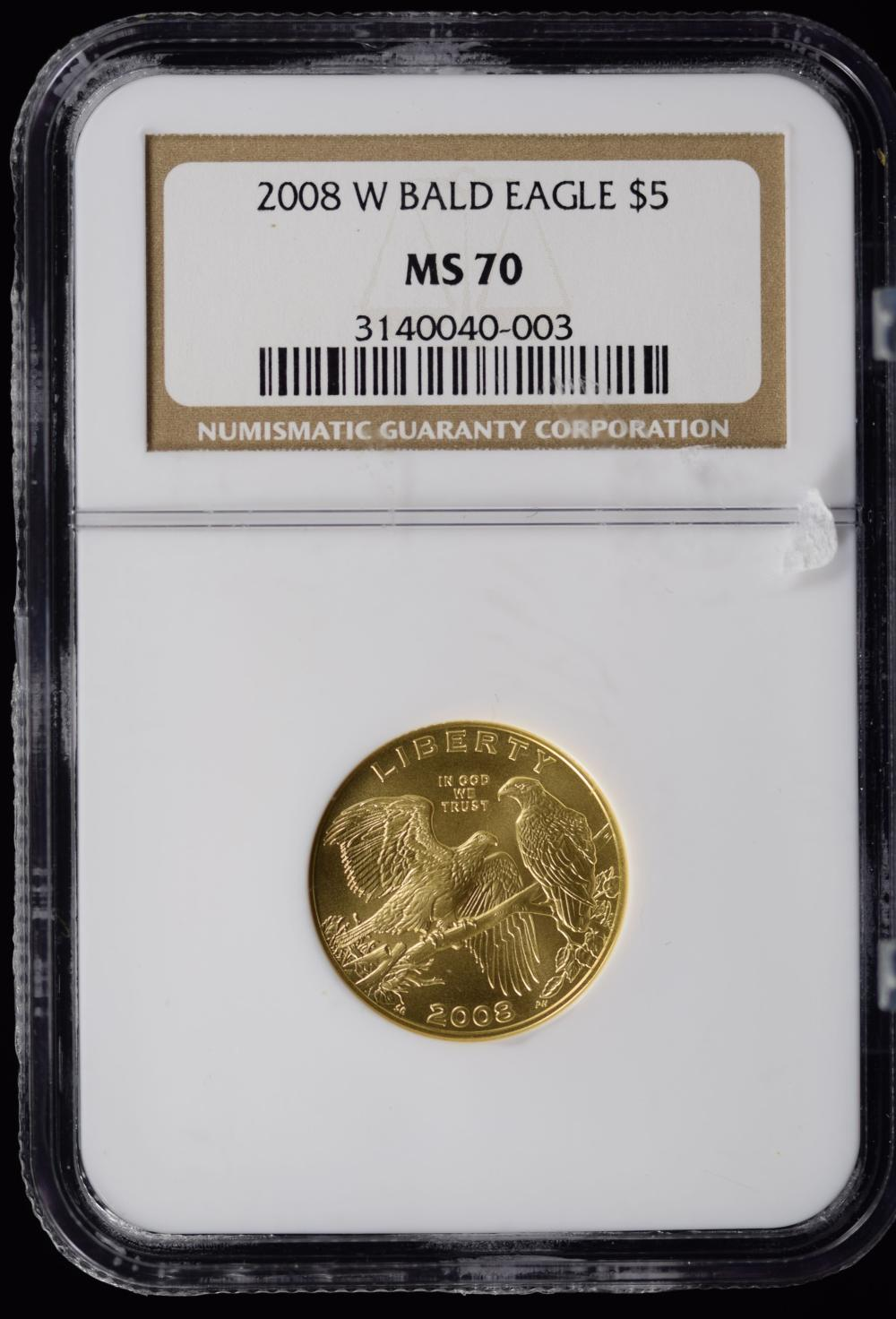 2008-W $5 Gold Bald Eagle NGC MS-70