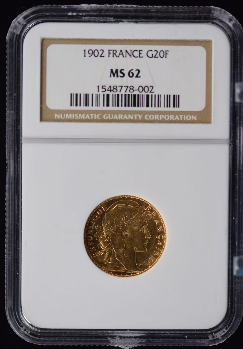 1902 Gold 20F France NGC MS-62