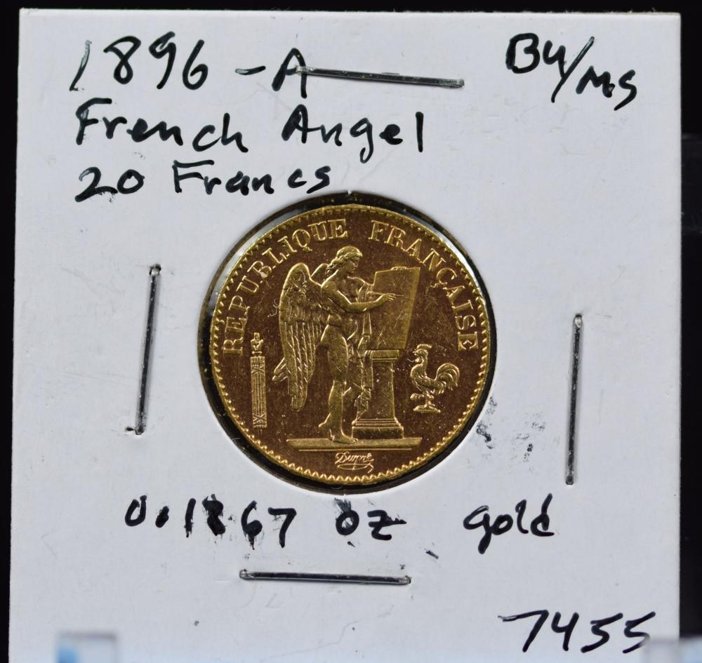 1896-A Gold French Angel 20 Francs BU/MS