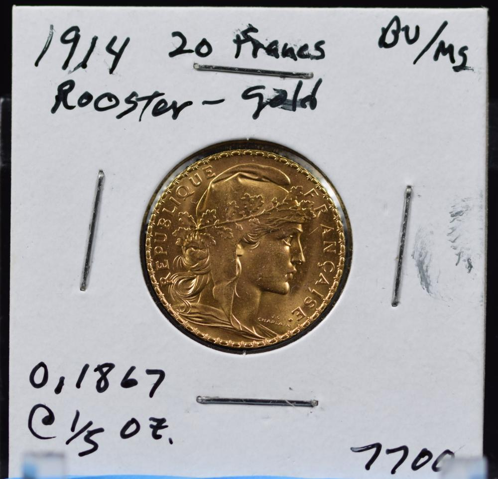 1914 Gold French 20 Francs Rooster BU/MS